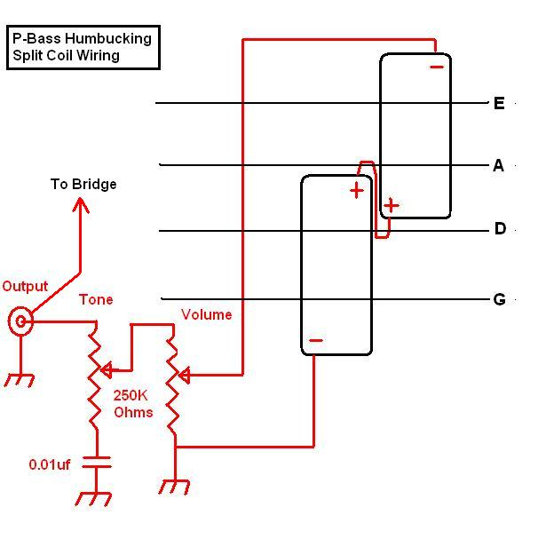 below is a diagram showing how a standard p-bass split coil pickup is wired  as hum-canceling pickup  the pickups are wired in series